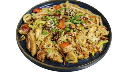 Udon noodles with chicken in teriyaki sauce
