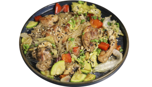 Funchoza noodles with chicken in Teriyaki sauce